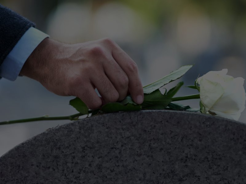 Man placing white rose on tombstone